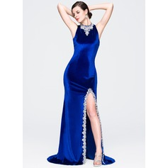 Sheath/Column High Neck Court Train Velvet Evening Dress With Beading Sequins Split Front