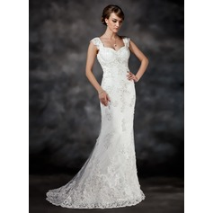 Trumpet/Mermaid Sweetheart Court Train Tulle Wedding Dress With Beading Appliques Lace