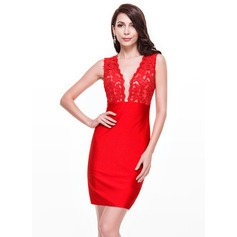Sheath/Column V-neck Short/Mini Lace Jersey Cocktail Dress With Beading Sequins