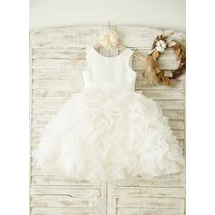 A-Line/Princess Knee-length Flower Girl Dress - Organza/Satin Sleeveless Scoop Neck With Bow(s)