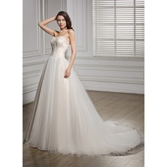 A-Line/Princess Sweetheart Chapel Train Tulle Wedding Dress With Ruffle Beading Appliques Lace Sequins