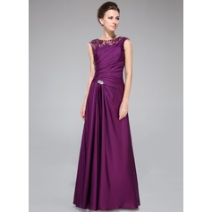 A-Line/Princess Scoop Neck Floor-Length Lace Satin Chiffon Mother of the Bride Dress With Ruffle Beading