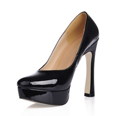 Patent Leather Chunky Heel Pumps Platform Closed Toe shoes