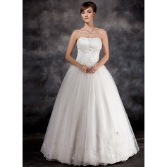 Ball-Gown Strapless Floor-Length Organza Wedding Dress With Ruffle Beading Appliques Lace