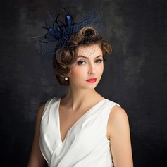 Ladies' Elegant Cambric/Feather/Tulle With Feather/Tulle Fascinators