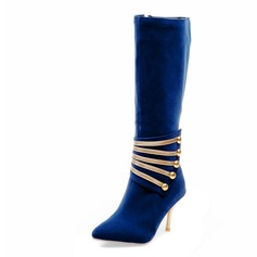 Women's Suede Stiletto Heel Knee High Boots With Sparkling Glitter shoes