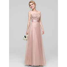 A-Line/Princess Scoop Neck Floor-Length Tulle Evening Dress With Ruffle
