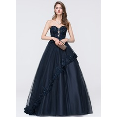 Ball-Gown Sweetheart Sweep Train Tulle Prom Dress With Beading Sequins Cascading Ruffles