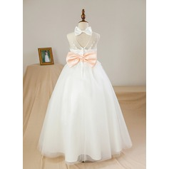 Ball Gown Floor-length Flower Girl Dress - Satin/Tulle Sleeveless Scoop Neck With Sash/Appliques/Bow(s)/Back Hole (010094108)