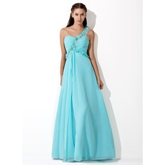 A-Line/Princess One-Shoulder Floor-Length Chiffon Prom Dress With Ruffle Beading Flower(s)