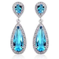 Attractive Zircon/Platinum Plated Ladies' Earrings