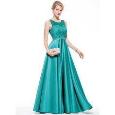 A-Line/Princess Scoop Neck Floor-Length Satin Tulle Prom Dress With Beading Sequins