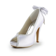 Women's Satin Stiletto Heel Peep Toe Platform Pumps With Bowknot Rhinestone