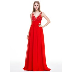 Empire V-neck Sweep Train Chiffon Prom Dress With Beading Sequins