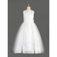 Empire Tea-length Flower Girl Dress - Taffeta/Tulle Sleeveless Scoop Neck With Bow(s)