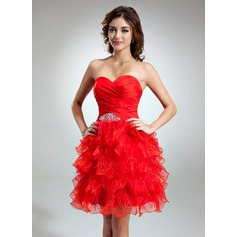 A-Line/Princess Sweetheart Knee-Length Organza Homecoming Dress With Beading Feather Cascading Ruffles