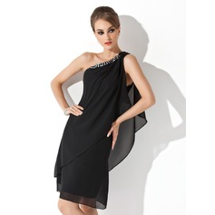 Sheath/Column One-Shoulder Knee-Length Chiffon Cocktail Dress With Beading (016021244)