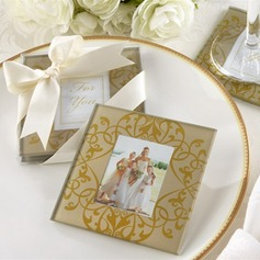 Floral Design Glass Coaster With Ribbons