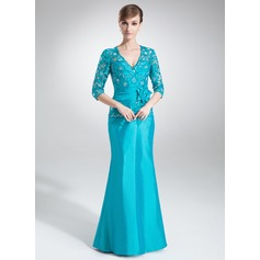 Trumpet/Mermaid V-neck Floor-Length Taffeta Mother of the Bride Dress With Lace Beading Flower(s)