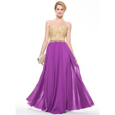 A-Line/Princess Scoop Neck Floor-Length Chiffon Tulle Prom Dress With Beading Appliques Lace Sequins