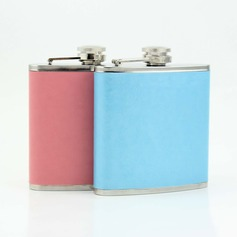 Solid-Color Stainless Steel/Leather Flasks