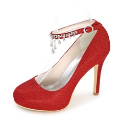 Women's Leatherette Satin Stiletto Heel Closed Toe Pumps With Rhinestone
