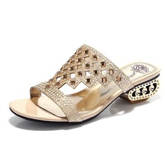 Sparkling Glitter Chunky Heel Sandals Pumps With Rhinestone shoes