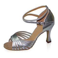 Women's Leatherette Heels Sandals Latin Ballroom With Ankle Strap Dance Shoes
