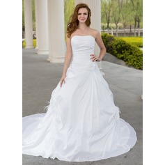Ball-Gown Sweetheart Chapel Train Taffeta Wedding Dress With Ruffle Feather Flower(s)