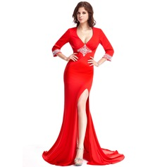 Trumpet/Mermaid V-neck Court Train Jersey Evening Dress With Beading Split Front