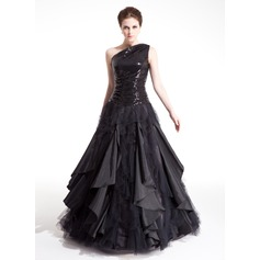 Ball-Gown One-Shoulder Floor-Length Taffeta Tulle Sequined Prom Dress With Ruffle Cascading Ruffles