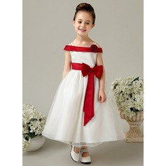 A-Line/Princess Ankle-length Flower Girl Dress - Satin Sleeveless Off-the-Shoulder With Flower(s)/Bow(s)