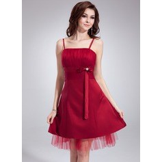 Empire Knee-Length Satin Homecoming Dress With Ruffle Beading Bow(s)