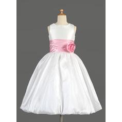 Empire Tea-length Flower Girl Dress - Taffeta/Charmeuse Sleeveless Scoop Neck With Sash/Flower(s)/Bow(s)