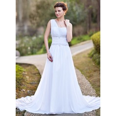 A-Line/Princess One-Shoulder Chapel Train Chiffon Wedding Dress With Ruffle Beading Appliques Lace