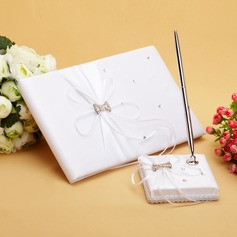 Luxury Ribbons/Rhinestones/Bow Guestbook & Pen Set