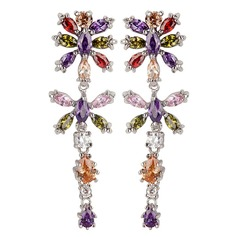 Exotic Zircon/Platinum Plated Earrings