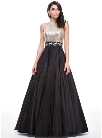 Ball-Gown Scoop Neck Floor-Length Taffeta Sequined Prom Dress With Beading