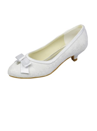 Women's Lace Low Heel Closed Toe Pumps With Bowknot