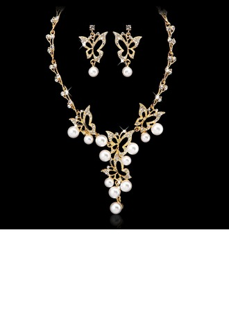 Butterfly Shaped Alloy/Pearl With Crystal Ladies' Jewelry Sets