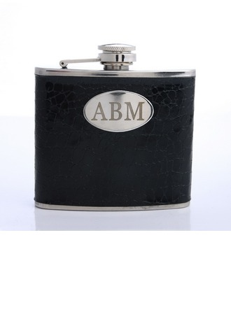 Personalized Deep Black Stainless Steel/Leatherette Flask