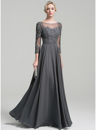 A-Line/Princess Scoop Neck Floor-Length Chiffon Mother of the Bride Dress With Beading Sequins