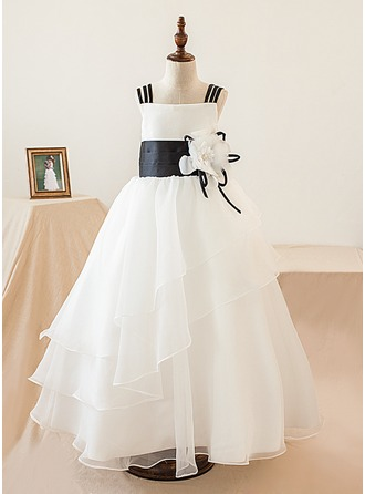 A-Line/Princess Floor-length Flower Girl Dress - Organza Sleeveless Square Neckline With Flower(s)