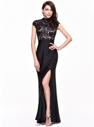 Trumpet/Mermaid High Neck Floor-Length Lace Jersey Evening Dress With Split Front