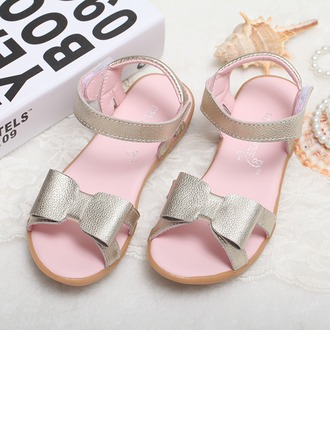 Girl's Real Leather Flat Heel Peep Toe Sandals With Bowknot