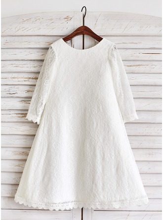 A-Line/Princess Tea-length Flower Girl Dress - Lace Long Sleeves Scoop Neck
