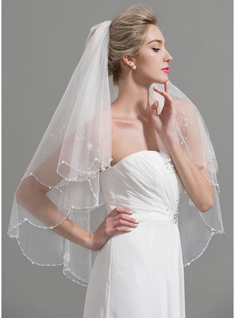 Two-tier Beaded Edge Fingertip Bridal Veils With Beading/Faux Pearl/Sequin