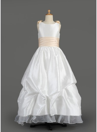 A-Line/Princess Floor-length Flower Girl Dress - Taffeta/Organza Sleeveless Scoop Neck With Sash/Flower(s)/Bow(s)/Pick Up Skirt