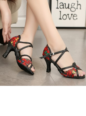 Women's Fabric Heels Sandals Latin Ballroom With Ankle Strap Dance Shoes