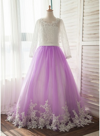 Watteau Train Flower Girl Dress - Satin/Tulle Long Sleeves Scoop Neck With Appliques